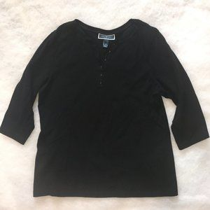 Karen Scott Woman Henley 3/4 Sleeve Top